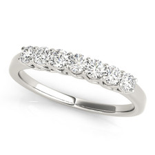 14K WHITE GOLD - SEVEN STONE (0.75CT) ROUND DIAMOND TRELLIS STYLE WEDDING BAND