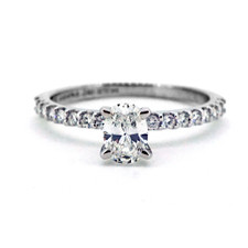 14K WHITE GOLD - 0.43CT PETITE SHARED PRONG OVAL CUT DIAMOND ENGAGEMENT RING