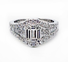 14K WHITE GOLD - 1.40CT - CLUSTER STYLE EMERALD CUT DIAMOND ENGAGEMENT RING