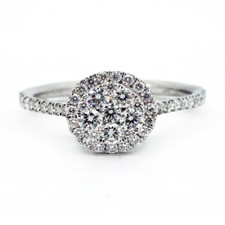 18K WHITE GOLD - 0.52CT - ROUND CLUSTER STYLE DIAMOND ENGAGEMENT RING