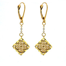 14K YELLOW GOLD - FILIGREE SQUARE DANGLING FASHION EARRINGS