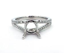 14K WHITE GOLD - TAPERED SPLIT SHANK STYLE DIAMOND ENGAGEMENT RING SETTING (0.24ct)