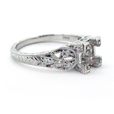 14K WHITE GOLD - VINTAGE ENGRAVED DIAMOND ENGAGEMENT RING SETTING