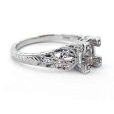 14K WHITE GOLD - VINTAGE ENGRAVED DIAMOND ENGAGEMENT RING SETTING