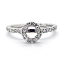 14K WHITE GOLD- PETITE ROUND HALO DIAMOND ENGAGEMENT RING SETTING (0.34ct)