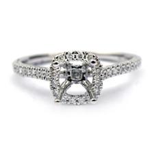 14K WHITE GOLD - PETITE CUSHION HALO DIAMOND ENGAGEMENT RING SETTING (0.26ct)