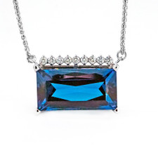 14K WHITE GOLD - HORIZONTAL RADIANT CUT BLUE TOPAZ & DIAMOND FASHION NECKLACE