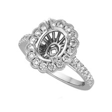 14K WHITE GOLD - VINTAGE STYLED OVAL SHAPED DIAMOND HALO DIAMOND ENGAGEMENT RING SETTING
