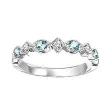 10K WHITE GOLD -  VINTAGE SCALLOPED BLUE TOPAZ & DIAMOND STACKABLE BAND (0.16CT)