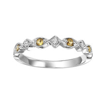 10K WHITE GOLD - VINTAGE SCALLOPED CITRINE & DIAMOND STACKABLE BAND (0.20CT)