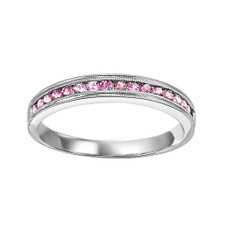 10K WHITE GOLD -  CHANNEL SET MILGRAIN EDGE PINK TOURMALINE STACKABLE BAND