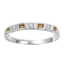 10K WHITE GOLD -  BEZEL SET MILGRAIN EDGE CITRINE & DIAMOND STACKABLE BAND