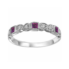 10K WHITE GOLD -  MILGRAIN HEART AMETHYST & DIAMOND STACKABLE (0.08ct)