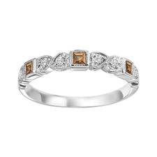 10K WHITE GOLD -  MILGRAIN HEART CITRINE & DIAMOND STACKABLE BAND