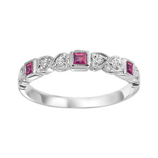 10K WHITE GOLD -  BEZEL & HEART STYLE PINK TOURMALINE & DIAMOND STACKABLE