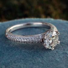14K WHITE GOLD - SIX PRONG MILGRAIN PAVE STYLE DIAMOND ENGAGEMENT RING  (0.70ct)