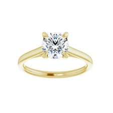 14K YELLOW GOLD - PETITE CATHEDRAL STYLE SOLITAIRE ENGAGEMENT RING SETTING