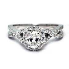 14K WHITE GOLD - 0.43CT - OVAL CUT BRAIDED STYLE DIAMOND ENGAGEMENT RING