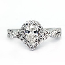 14K WHITE GOLD - 0.43CT - PEAR CUT BRAIDED STYLE DIAMOND ENGAGEMENT RING
