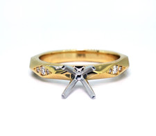 14K Yellow Gold - Diamond Accented Geometric Faceted Diamond Engagement Ring Setting (0.07ct)