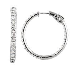14K WHITE GOLD - 1.50ct Inside Outside Shared Prong Diamond Hoop Earrings
