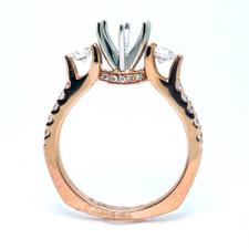 14K Rose Gold - Hidden Halo Three Stone Engagement Ring Setting (0.51ct)