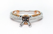 14K Rose Gold - Two Tone Double Row Cathedral Style Engagement Ring Setting (0.22ct)