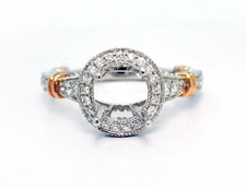 14K Rose Gold - Two Tone Double Halo Vintage Style Engagement Ring Setting (0.40ct)