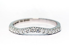 14K White Gold - 0.15ct - Petite Curved Shared Prong Diamond Wedding Band