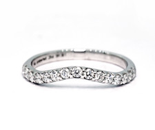 14K White Gold - 0.25ct - Petite Curved Shared Prong Diamond Wedding Band