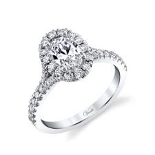 14K White Gold -  Split Shank Oval Halo Diamond Engagement Ring Setting
