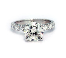 14K White Gold - 2.00ct  Shared Prong Round Brilliant Cut Diamond Solitaire Engagement Ring