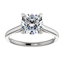 Platinum High Polished Cathedral Style Solitaire Engagement Ring Setting
