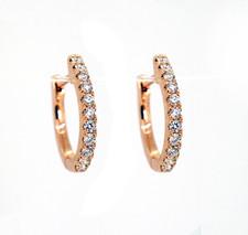 14K Rose Gold - Petite Oval Shaped Round Diamond Hoop Earrings (0.34ct)