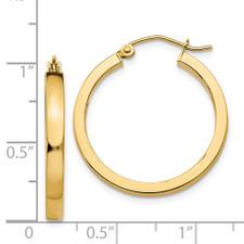 14K Yellow Gold - 2 x 30 mm - Flat Style Gold Hoop Earrings