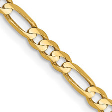 14K Yellow Gold - 3mm Figaro Style Chain - 20 inches