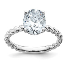 14K White Gold - 3.00 ct - Pure Light Oval Twisted Moissanite Solitaire Ring