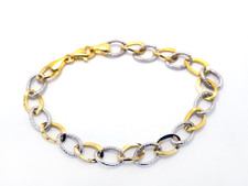 14K Yellow/White - Two Tone Sparkling Oval Link Bracelet - 7.5 inch