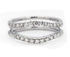 14K White Gold - Round Diamond Curved Wedding Band Ring Jacket (0.87ct)