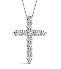 14K White Gold - Simple Shared Prong Diamond Pendant & Chain (0.68ct)