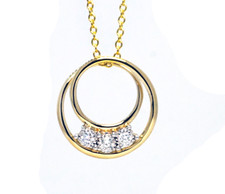 14K Yellow Gold - 3 Stone Reflection Diamond Double Link Necklace (0.15ct)