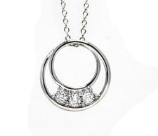 14K White Gold - 3 Stone Reflection Diamond Double Link Necklace (0.10ct)