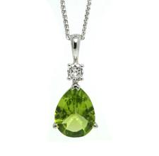 14K White Gold, 3.17ct - Pear Cut Peridot & Diamond Fashion Pendant & Chain