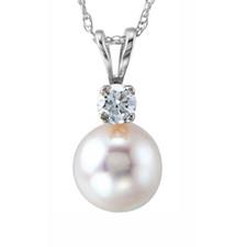 14K White Gold -  7mm Cultured Pearl & Diamond Pendant & Chain (0.08ct)