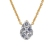 18K YELLOW GOLD - PETITE PEAR SHAPED DIAMOND CLUSTER NECKLACE (0.41CT)