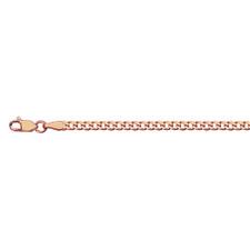 14K Rose Gold - 2.7mm Curb Link Bracelet - 7.25 inch