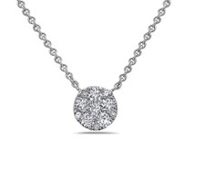 18K White Gold - Petite Round Shaped Diamond Cluster Necklace (0.27ct)