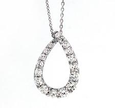 18K White Gold - 0.72ct - Shared Prong Graduated Diamond Love Loop Pendant & Chain