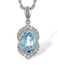 14K White Gold - Oval Cut Aquamarine Vintage Diamond Halo Style Pendant & Chain (0.14ct)