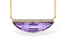 14K Yellow Gold - Half Moon Cut Amethyst & Diamond Bar Necklace (0.10ct)